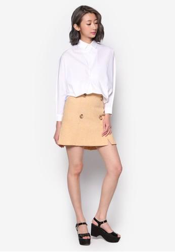 雙排扣褶飾迷你短裙, 服飾esprit香港門市, 裙子
