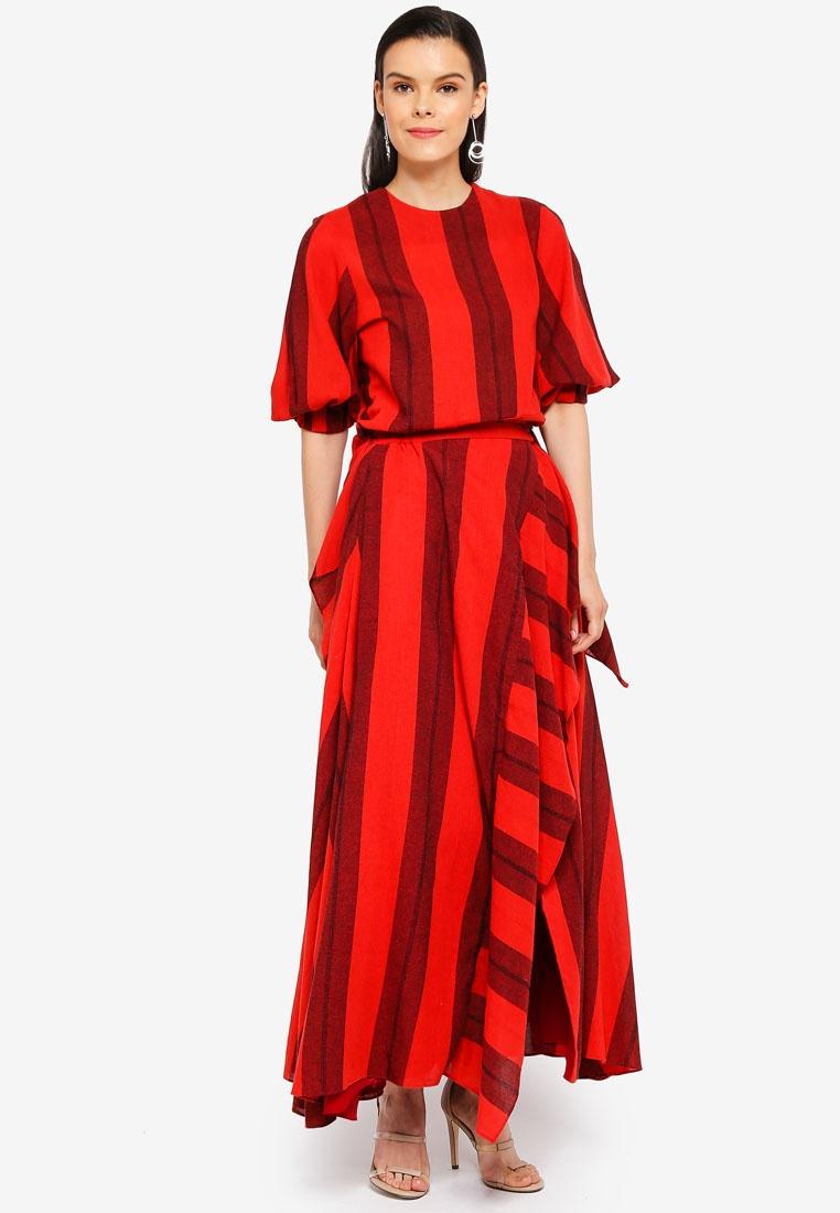 Red Top Cocoon Striped Sleeve AfiqM zq4w18