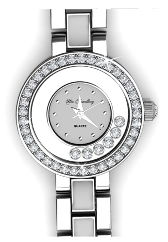 Her Jewellery white and silver Crystal Watch (White) - Made with premium grade crystals from Austria HE210AC15GLOSG_1