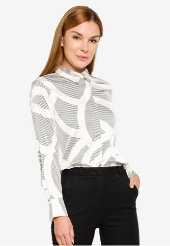 H&M white and blue Long-Sleeves Blouse 1E764AA13A31B2GS_1
