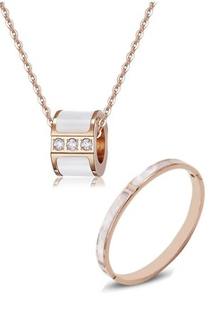 6a26bbce0ed CELOVIS gold Maisie Tri-Dias in Mother of Pearl Necklace + Bangle Set  AE160AC211AD79GS_1