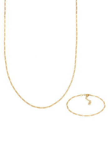 Elli Germany gold Perhiasan Wanita Perak Asli - Silver Perhiasan Set Figaro Basic Lapis Emas A41BBAC95485D8GS_1