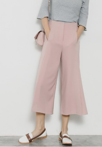 Shopsfashion pink Straight Leg Pants with Splits in Pink 4D7BBAA7D05821GS_1