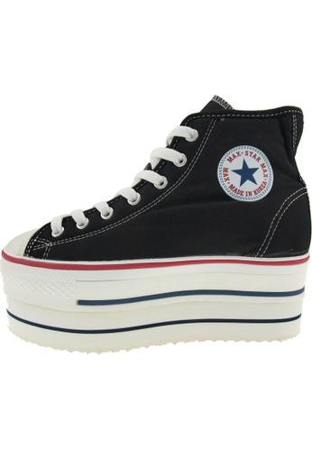 Maxstar 黑色 新款韩国鞋CN9-8H時尚帆布布混合女黑色 US Women Size MA345SH74HFTTW_1