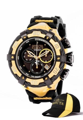INVICTA gold Invicta Bolt Men 54.5mm Case  Stainless Steel, Silicone Strap  Dial Quartz Watch 21367 w/ Cap F4D59AC047718BGS_1