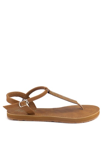 Ripples brown Tara Aztec Slide'N'Style T-Bar Sandals RI425SH34UXPSG_1