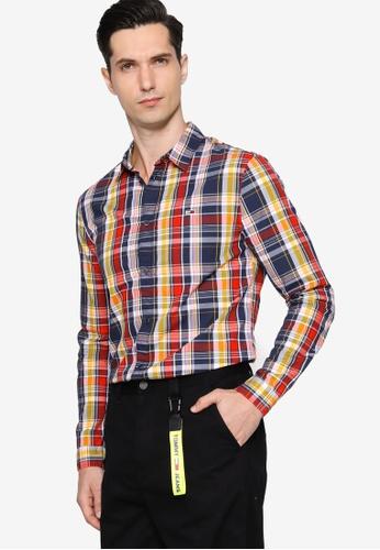 Tommy Hilfiger navy Tjm Seasonal Check Shirt - Tommy Jeans 74A1BAAECF9F3FGS_1