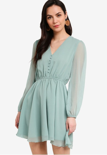 Tula Cruz green Button Long Sleeve Chiffon Mini Dress EDE09AA329A014GS_1