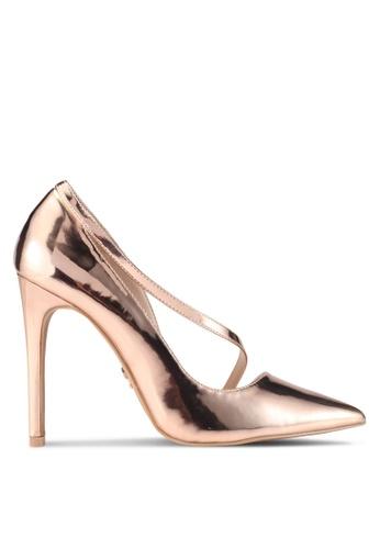 LOST INK gold Perri D'Orsay Curve Strap Court Heels LO238SH0SZ3EMY_1