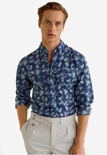 MANGO Man blue Regular-Fit Leaf-Print Shirt 97A11AA00DE1AAGS_1