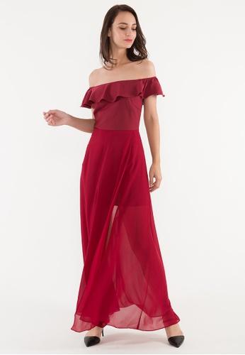 BEBEBEIGE red BebeBeige Off Shoulder Slim Fit Double Layer Elegant Long Dinner Dress FE41FAAE676785GS_1
