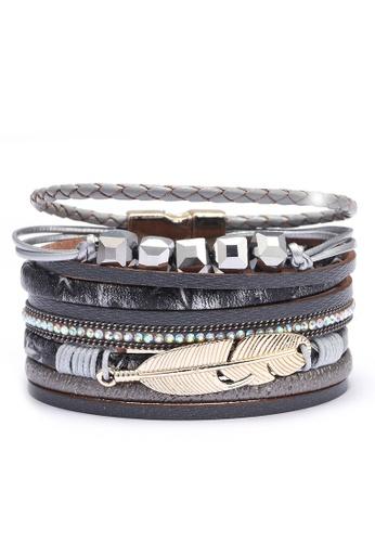 HAPPY FRIDAYS Rhinestone Feather Synthetic Leather Bracelet QNW2551 57F63ACF9A8F6BGS_1
