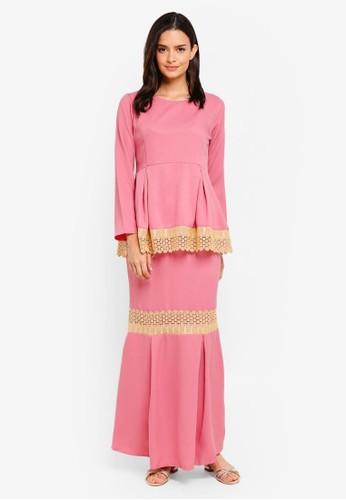 Aqeela Muslimah Wear pink Qhalisha Peplum Lace Kurung AF438AAC9A9E0CGS_1