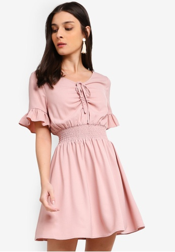 ZALORA pink Ruched Details Fit And Flare Dress E7B9AAA9265FE3GS_1