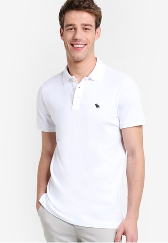 Abercrombie & Fitch white Stretch Polo Shirt AB423AA51GOIMY_1
