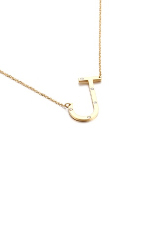Glamorousky white Simple Personality Plated Gold English Alphabet J 316L Stainless Steel Pendant with Cubic Zirconia and Necklace 070F6ACF5A30E3GS_1