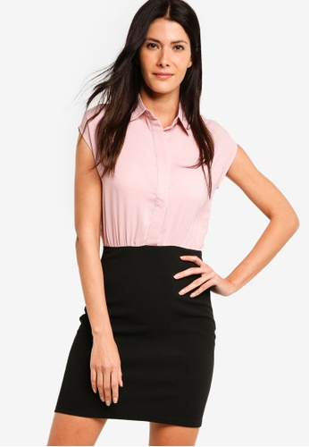 ZALORA pink Shirt Dress With Bodycon Skirt 460BFAAC6CBB8CGS_1