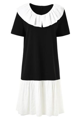hk-ehunter black and white V-Neck Ruffle Hem Patchwork Work Dress C0C26AA77031B5GS_1