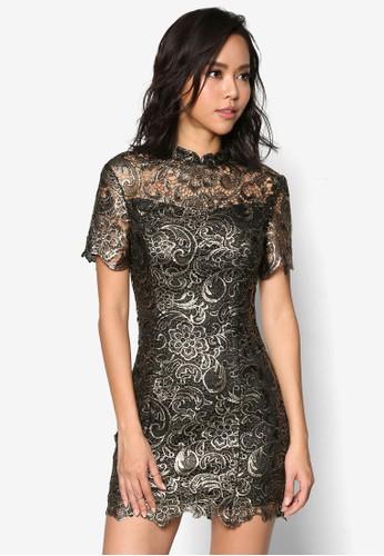 金色鉤針蕾絲修身連身裙,esprit 尺寸 服飾, 洋裝