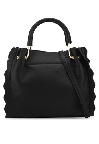 Unisa black Frill Edge Convertible Top Handle Bag A8B14ACA13C0CDGS_1