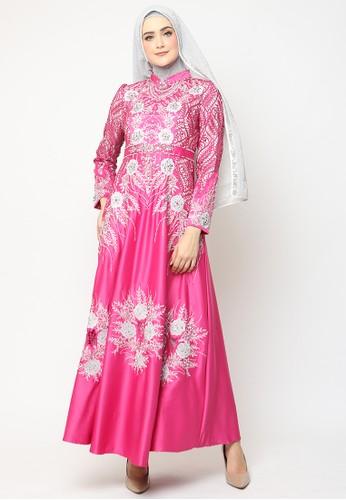 BIBIQ red and pink Bibiq Gamis Satin 5E9D8AA3882318GS_1