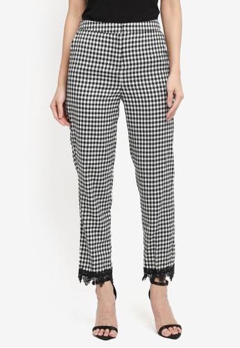 Miss Selfridge multi Dogstooth Lace Hem Cigarette Trousers 6E60FAAC733D44GS_1