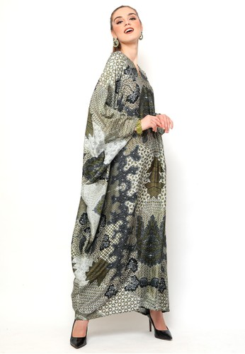 Kanzi by liza yahya green Kanzi Exclusive Long Sleeve Batik  Dusty Olive Green B7203AAFBF0832GS_1