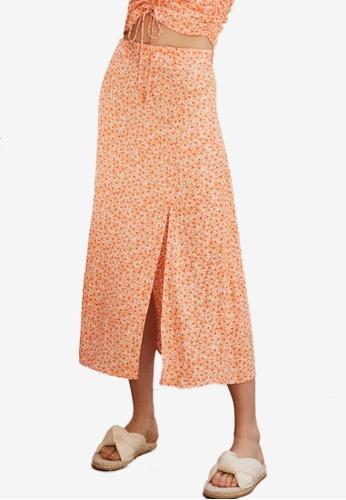 H&M orange Viscose Skirt 0A0D5AAE341FF6GS_1