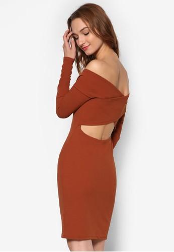 露zalora時尚購物網評價肩背部鏤空長袖連身裙, 服飾, 服飾