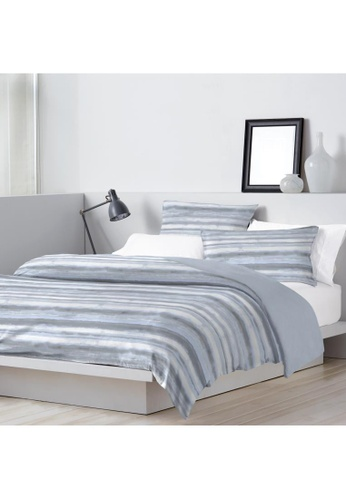 Dkny grey and blue DKNY Washed Stripe Blue Quilt Cover & Pillow Sham Set. 53EF2HLBF1ECE8GS_1