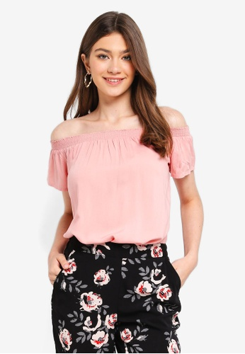 Pieces pink Mie Off Shoulder Top F6C32AA8547981GS_1