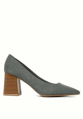 MARKS & SPENCER grey Block Heel Pointed Toe Court Shoes 3EEE7SH1B28FD9GS_1