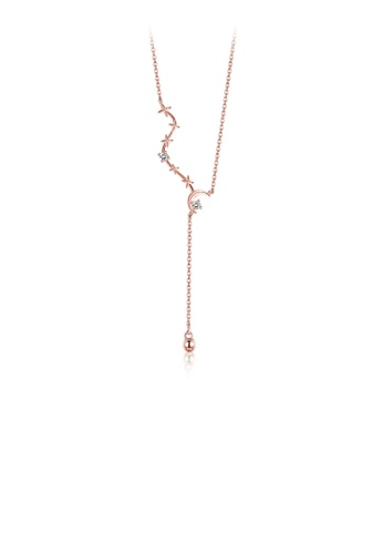 Glamorousky white 925 Sterling Silver Plated Rose Gold Dipper Necklace with Austrian Element Crystal 4663CACCC39ACBGS_1
