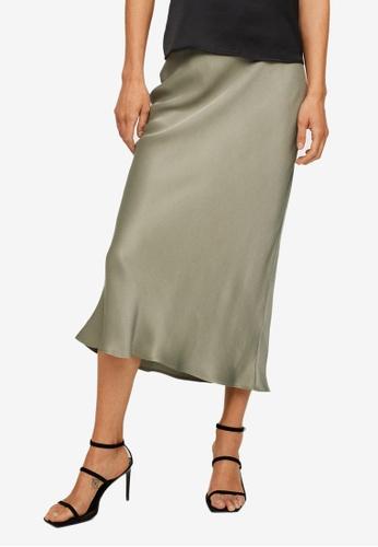Mango green Midi Satin Skirt AEDC5AA1570ECCGS_1