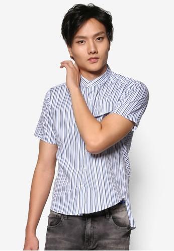 前短esprit門市後長立領條紋口袋襯衫, 服飾, 印花襯衫