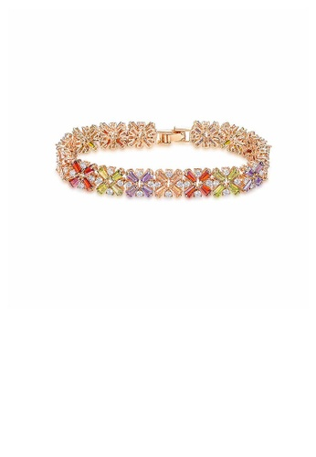Glamorousky multi Fashion Rose Goldplated Bracelet with Multi-colored Cubic Zircon 9357AAC637D3D5GS_1