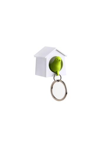 Qualy Qualy Mini Sparrow Key Ring (White/Green) 9B883HL7647DD1GS_1