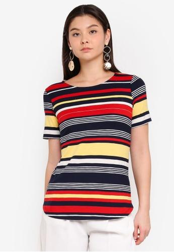 Dorothy Perkins 多色 Red Yellow Curve Hem Multi Stripe T-Shirt F5E76AA3EBD37DGS_1