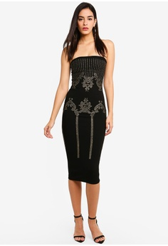 79c751f68f9 17% OFF MISSGUIDED Baroque Embellished Bandeau Midi Dress S  63.90 NOW S   52.90 Sizes 8