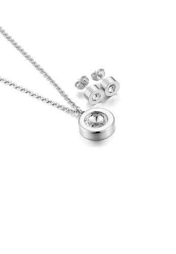 Glamorousky white Fashion Simple Geometric Round Cubic Zirconia 316L Stainless Steel Necklace and Stud Earring Set 72D1AACF27989DGS_1