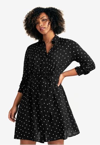 Violeta by MANGO black Plus Size Printed Shirt Dress 9308DAAFBBB7A5GS_1