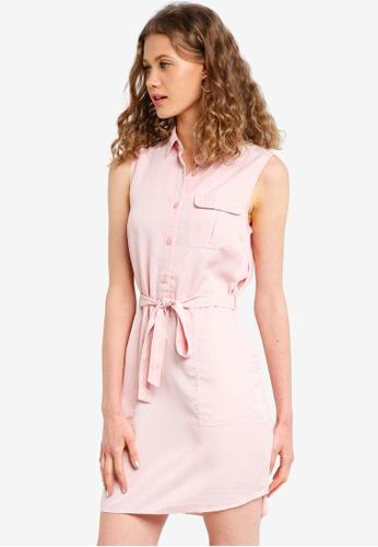 Jack Wills pink Digby Sleeveless Shirt Dress 63ACFAA3B8A7DBGS_1