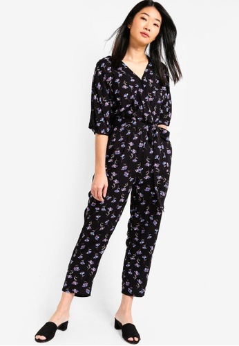 Something Borrowed black and multi Wrap Jumpsuit With Self Tie F91BAAAD88C623GS_1