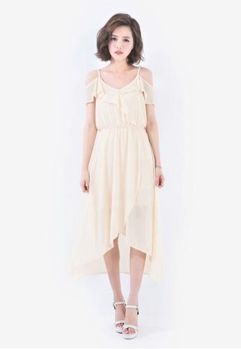 Mayuki orange Bare Shoulder Chiffon Dress with Ruffles MA697AA98GLPMY_1