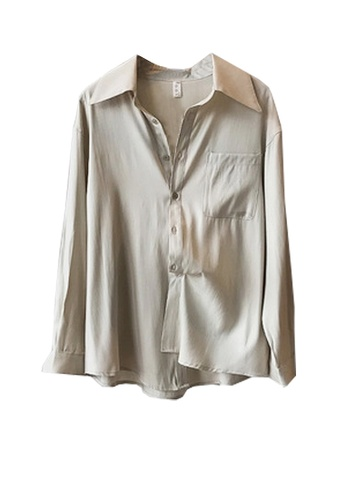 Twenty Eight Shoes beige VANSA Shiny Satin Long Sleeve Shirts  VCW-Sh0301 4218DAAE9391F9GS_1