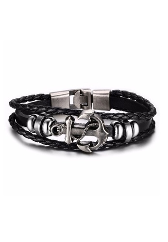 Fur Nyce Black Anchor Leather Bracelet Fu779ac77vhemy 1