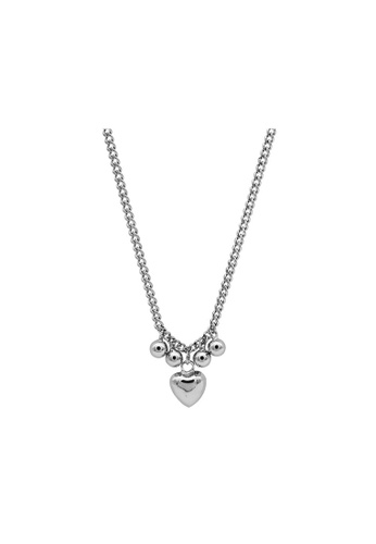 LYCKA silver LDR1322 S925 Silver Heart and Pearls Necklace 38BCBACFC80CFDGS_1