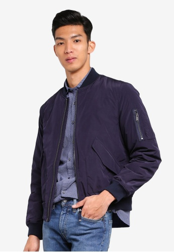 MANGO Man blue and navy Quilted Lining Bomber Jacket F93BBAAFAD2587GS_1