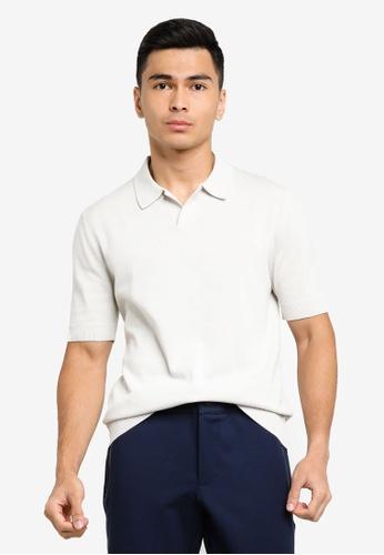 ck Calvin Klein grey PURE HIGH TWIST COTTON POLO SHIRT 4F1A9AA2B233B9GS_1