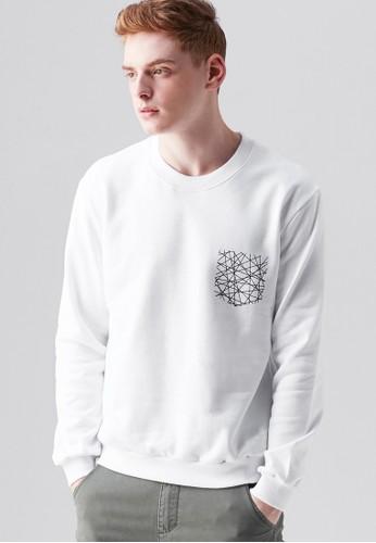 韓系簡約。細網口袋。刷毛印花圓領T-MIT-03709-白色, 服飾, zalora 衣服評價長袖T恤